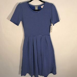 Lularoe Amelia dress (blue and white stripe)